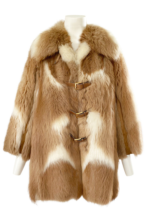 1970s Gucci Two Toned Sheepskin & Suede Coat w Front Leather Buckles