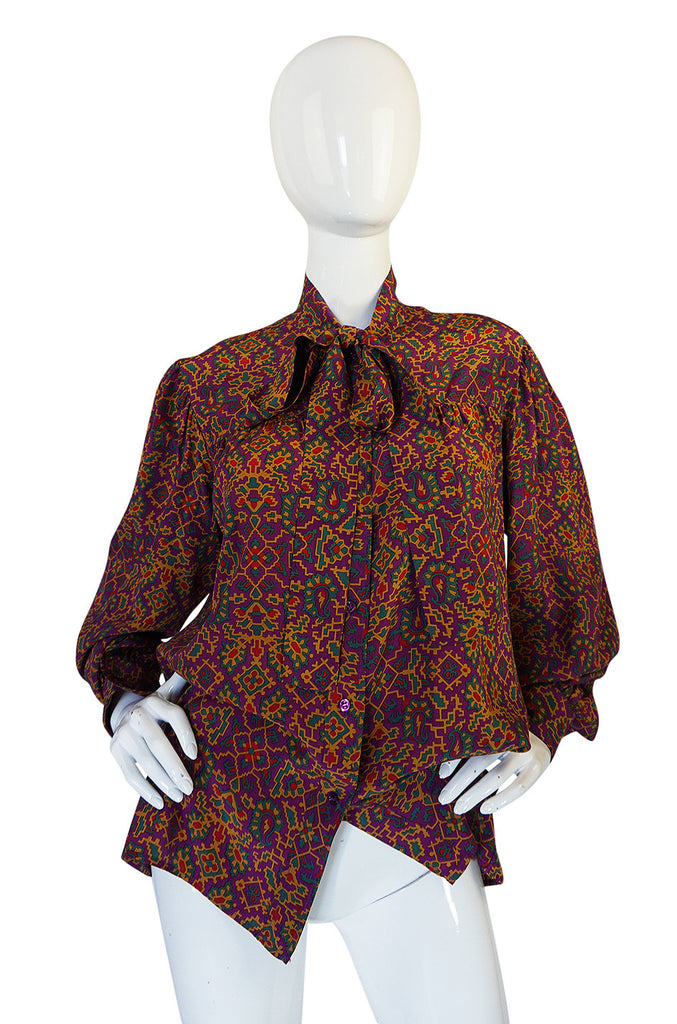 1970s Yves Saint Laurent Classic Silk Print Top