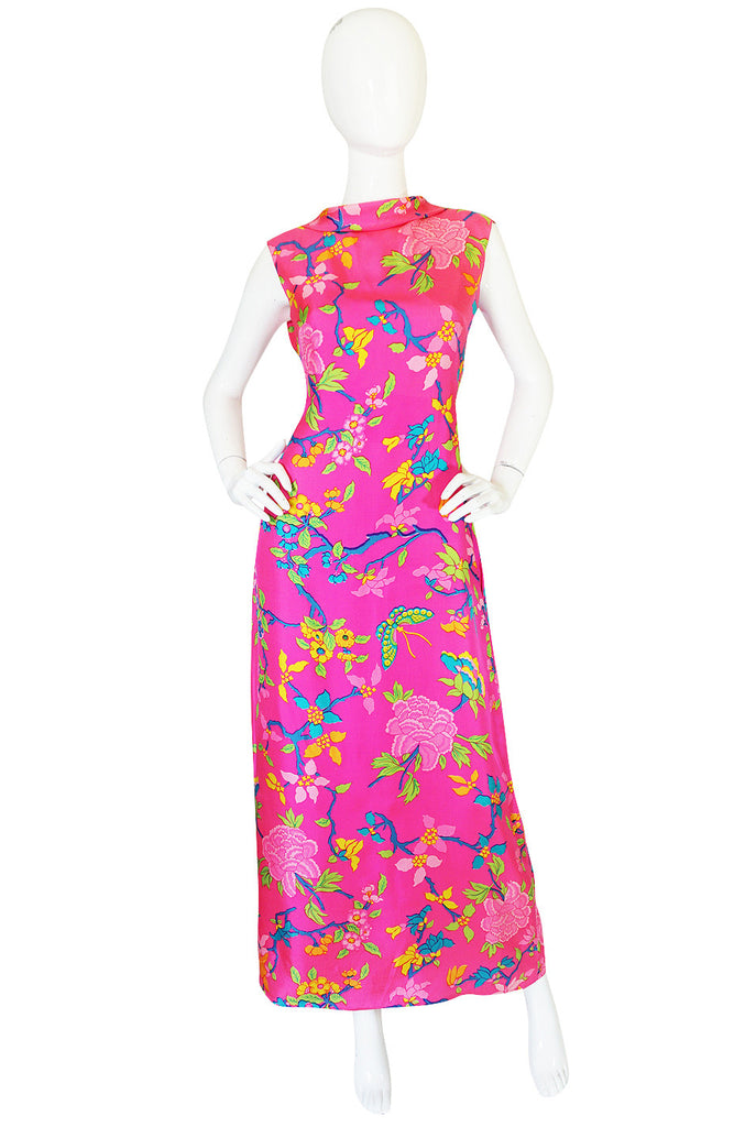 1970s Vibrant Pink Silk Twill Adele Simpson Dress