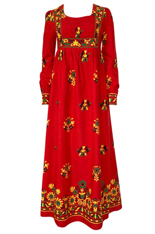 1960s Dollyrockers Bright Floral Printed Red Cotton Caftan Dress