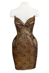 Documented 1998 Thierry Mugler Gold Bronze Brocade Strapless Dress w Formed Pointed Cups