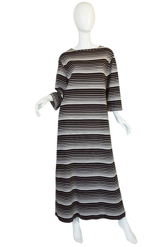 1970s Givenchy Graphic Striped & Studded Caftan Dress