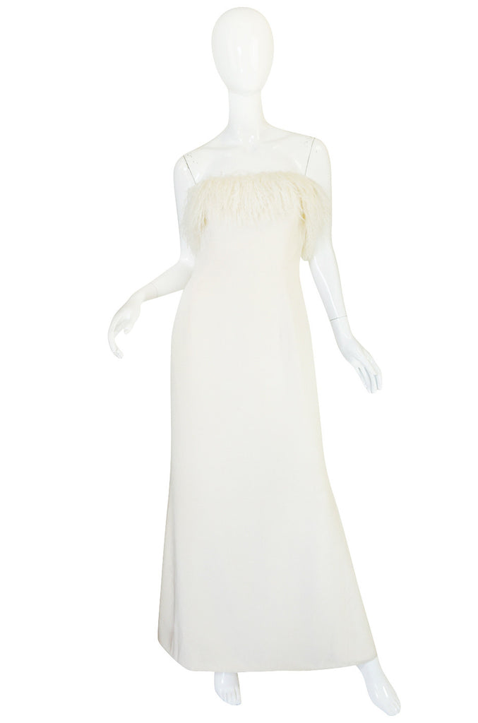 1970s Mongolian Fur Trimmed Cream Silk Travilla Gown