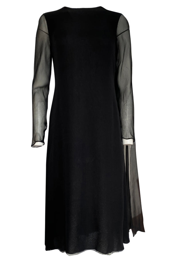 1970s George Stavropoulous Couture Black Silk Chiffon Caped Shoulder Dress