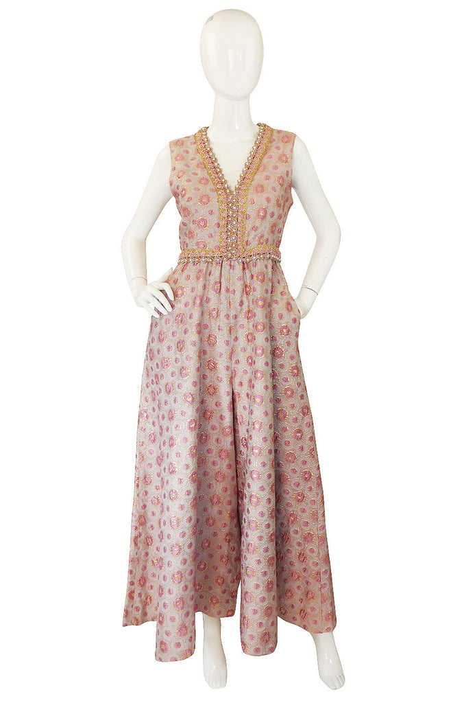 1960s Brocade & Jewelled Pink Jumpsuit