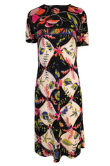1960s Emilio Pucci Unusual Bright Floral & Black Print Silk Jersey Dress