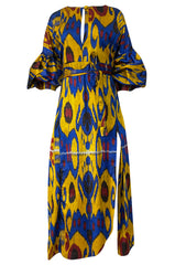 Recent Zazi Handmade Vintage Ikat Silk Blue & Gold Caftan Dress
