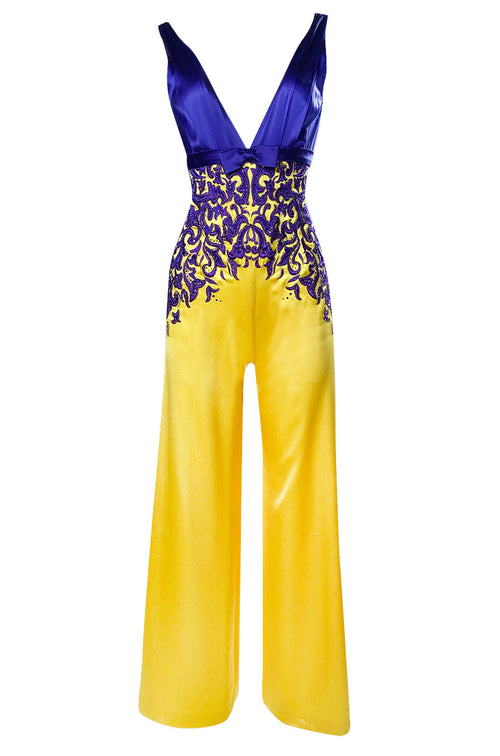 c.2006 Balestra Roma Haute Couture Purple & Yellow Embellished Silk Jumpsuit