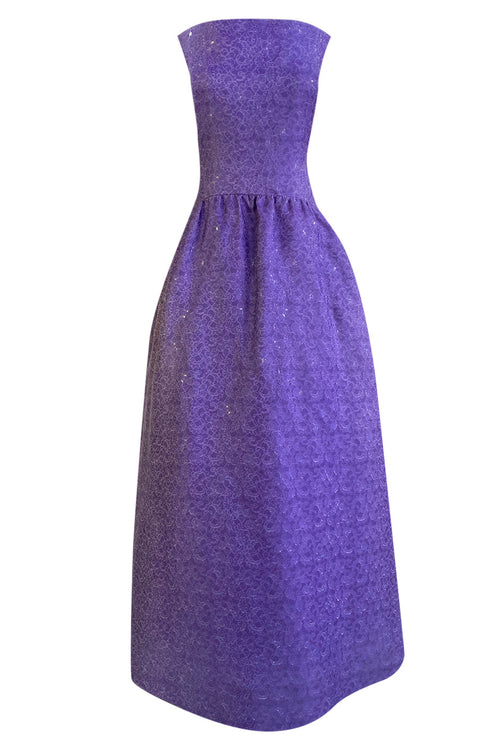 1960s Arnold Scaasi Couture Strapless Purple Silk Dress w Silver Thread Detailing - 25% OFF TAKEN AT CHECKOUT
