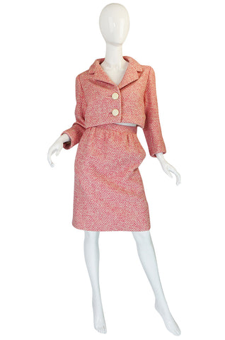 c1963-65 Norman Norell Pink Boucle Cropped Jacket Suit