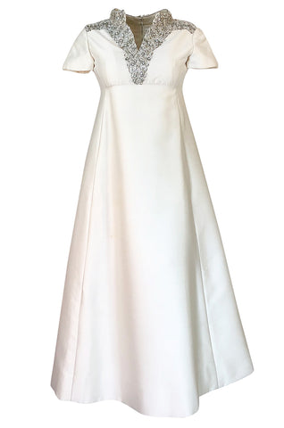 1960s Malcolm Starr Ivory Silk Dress w Rhinestone & Bead Adornments
