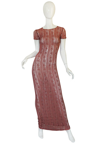 1990s Dusky Rose John Galliano Open Weave Knit Dress