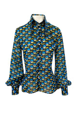Rare 1960s Jeff Banks Novelty Swimmer Print Button Front Shirt Top