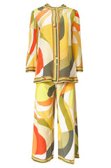 1960s Emilio Pucci Citrus Colors Silk Button Tunic Top  & Cropped Pant Set
