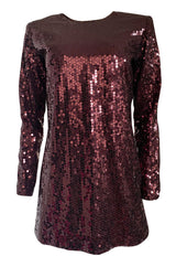 Fall 1996-97 Yves Saint Laurent Burgundy Sequin Micro Mini Dress or Tunic