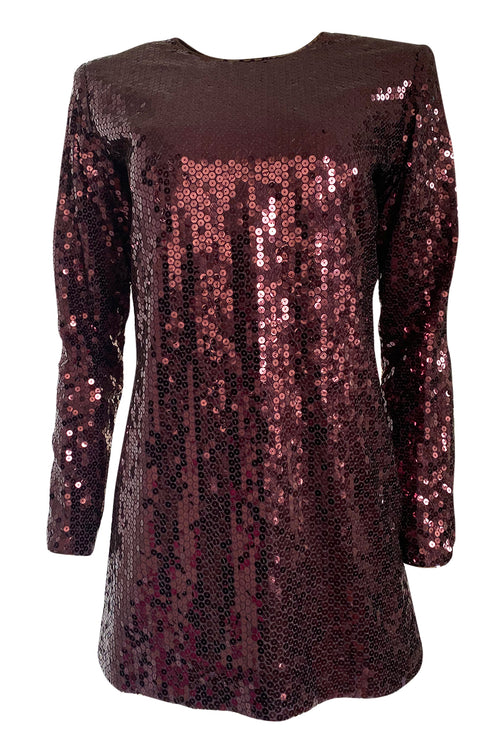 Super Sale! Fall 1996-97 Yves Saint Laurent Burgundy Sequin Micro Mini Dress or Tunic