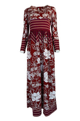 1970s Lanvin Deep Red & White Jersey Floral & Stripe Print Dress