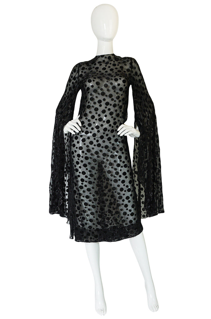 1960s Angel Sleeve Silk Chiffon w lame Velvet Details Dress