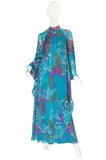 1970s Hanae Mori Flowing Turquoise Silk Chiffon Caftan Dress