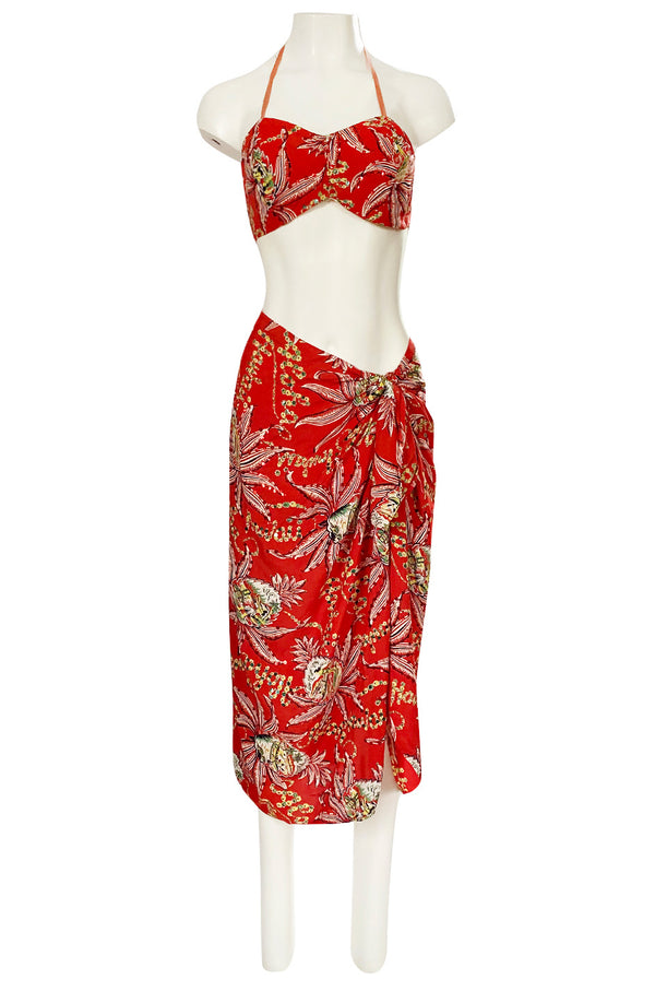 Rare 1930s 1940s Hawaiian Novelty Print Sarong & Halter Set w Fused Sequins