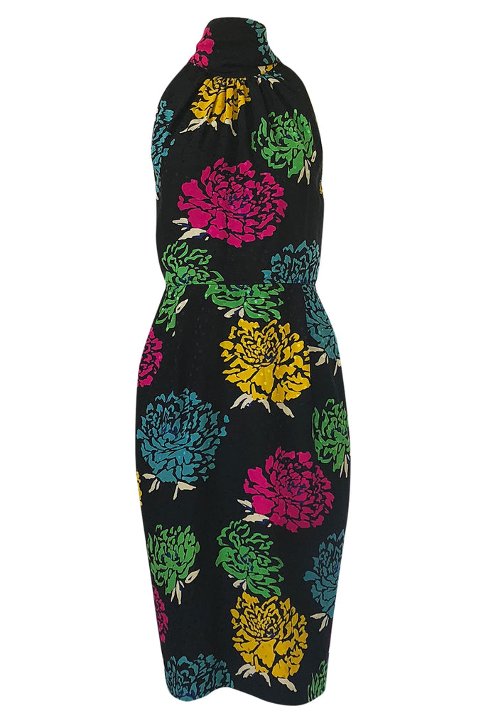 1970s Emanuel Ungaro Multi-Color Floral Silk Print Sleeveless Dress