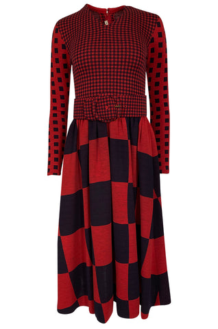 Documented 1971 Rudi Gernreich Red & Navy Check Dress w Belt