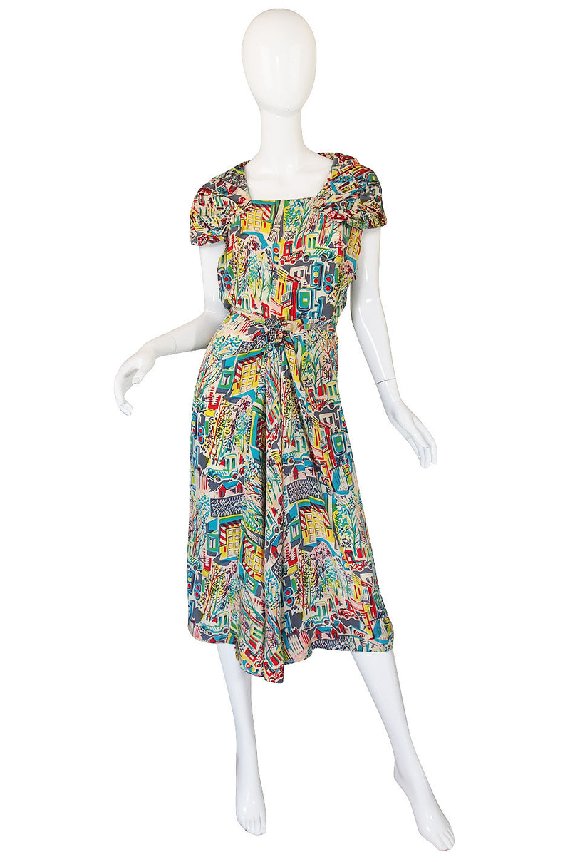 1940s Pattullo Jo Copeland Silk Print Dress