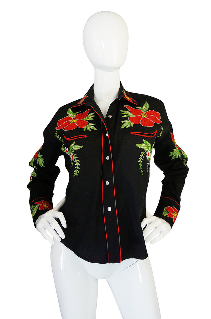 1990s Bright Hand Embroidered Western Shirt