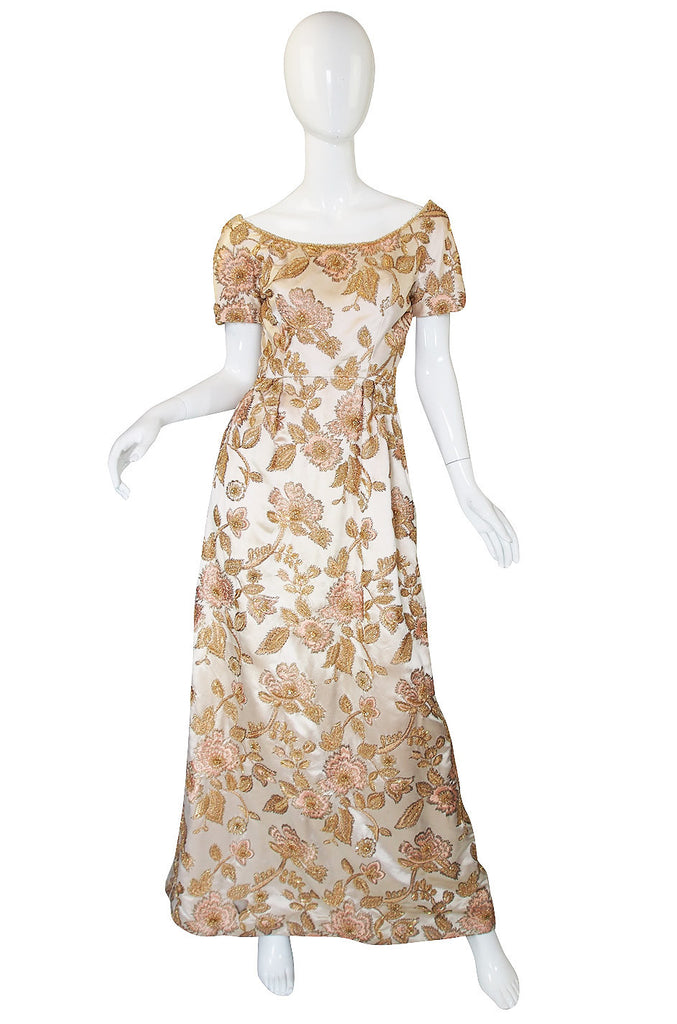 1960s Jean Louis Bead & Embroidery Silk Gown