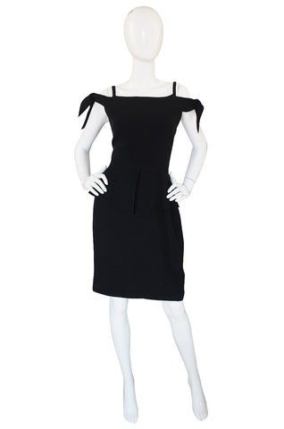1980s Claude Montana Fitted Peplum Dress