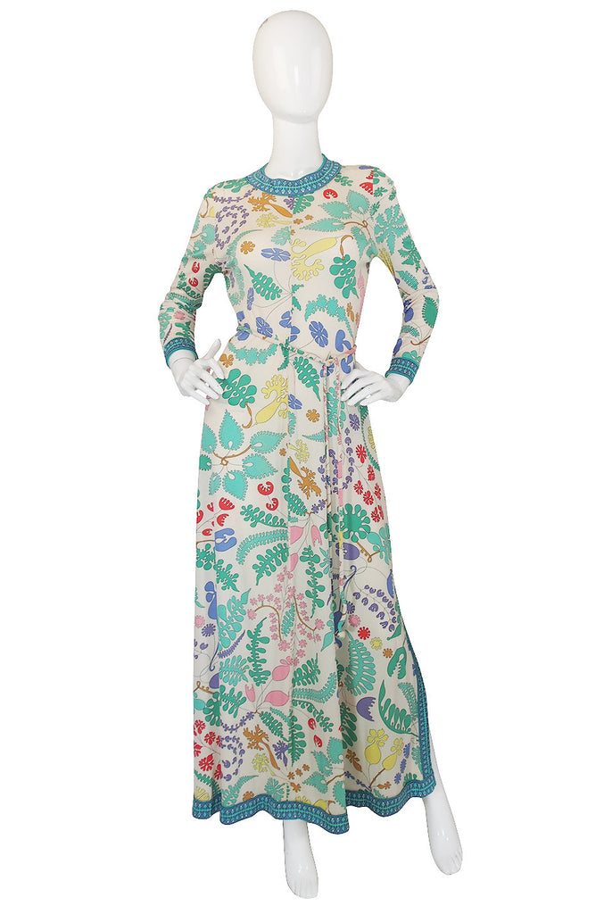 1970s Amazing Bessi Floral Maxi Dress