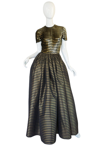 1980s James Galanos Couture Gold & Black Striped Silk Dress