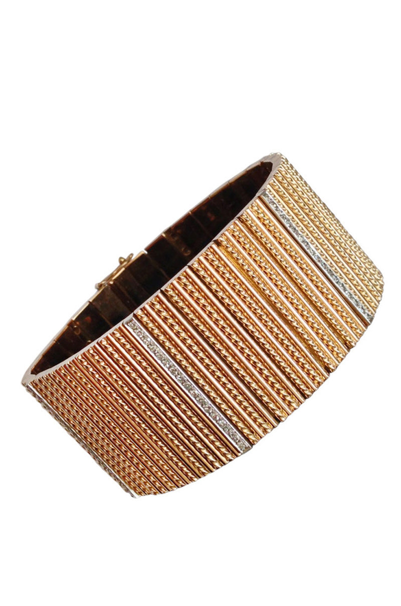 1970s Marvin Schluger Diamond Rose Gold Cuff