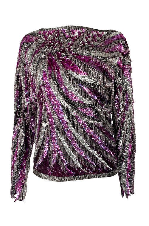 1984 Halston Deep Pink & Silver Densely Sequinned & Heavily Beaded Top w Wide Neckline