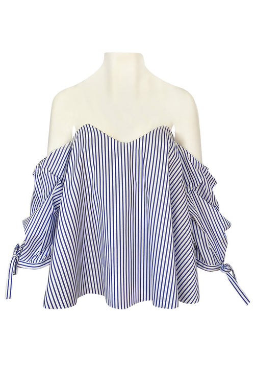 Recent Caroline Costas Blue & White Striped Pouf Sleeved Off Shoulder Top