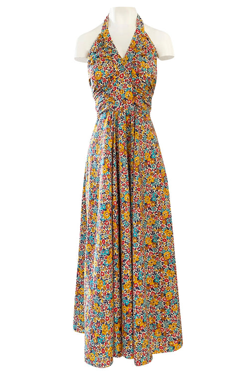Rare 1970s Annacat Pretty Floral Print Cotton Tie Back Wrap Halter Maxi Dress