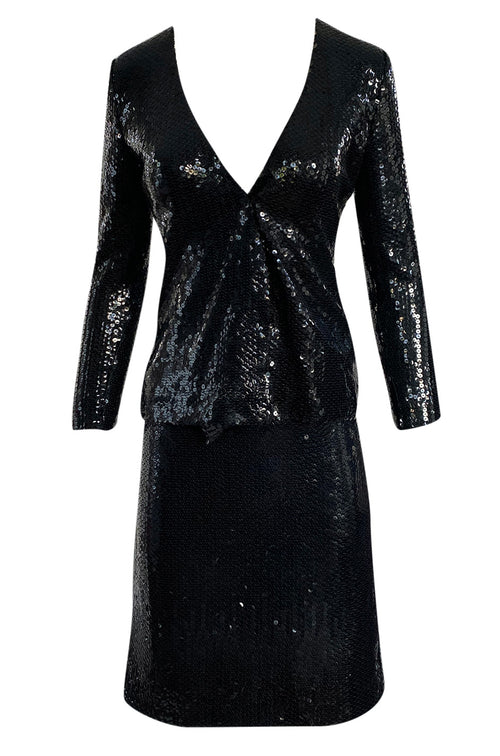1973 Halston Couture Glossy Black Hand Applied Sequin Skirt & Jacket Evening Suit