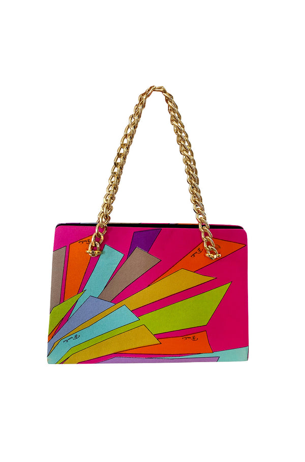 1960s Emilio Pucci Vivid Pink Multi Color Silk Evening Bag w Gold Chains
