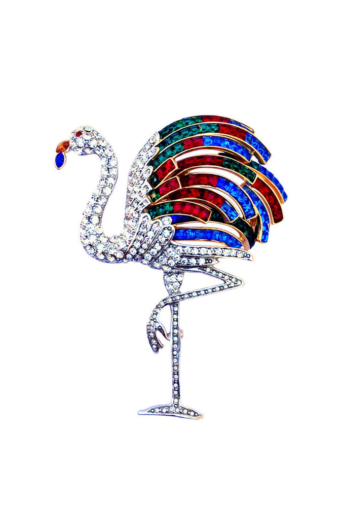 1980s Paste Flamingo Brooch