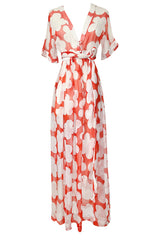 c. 1978 Yves Saint Laurent Large Floral Print Coral Plunge Silk Chiffon Dress