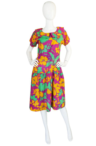 1970s Givenchy Linen Bright Flower Day Dress