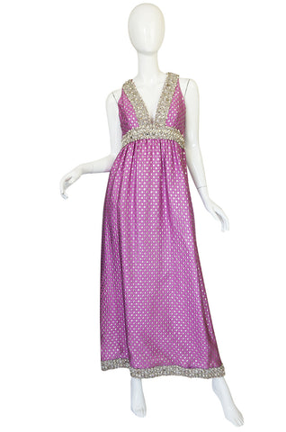 c1965-69 Lavender & Silver Beaded Oscar de la Renta Dress