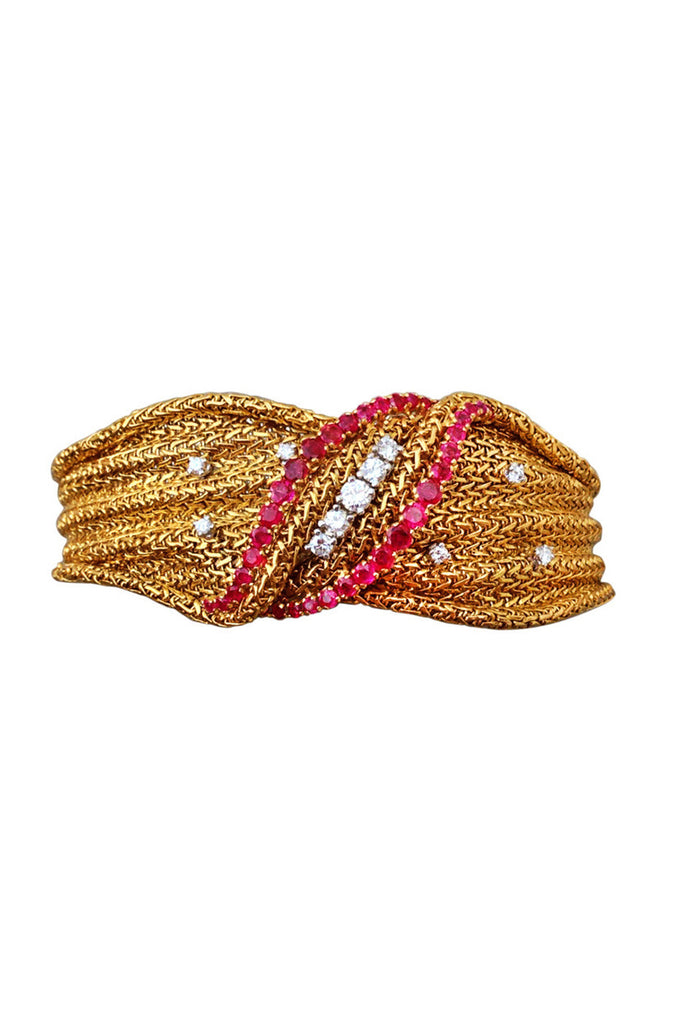 1960s Lotos Gold Diamond & Ruby Bracelet