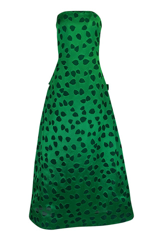 c1984 Arnold Scaasi Heart Covered Emerald Green Strapless Dress
