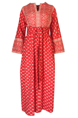 Lovely 1960s Red & White Print Indian Cotton Caftan Dress