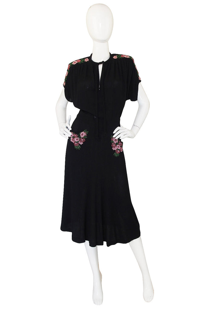 1940s Spectacular Beaded Silk Crepe Swing Dress
