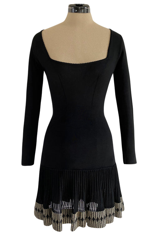 Early 1990s Azzedine Alaia Black Knit Mini Dress w Sheer Raised Edge Skirt & Boy Short Interior