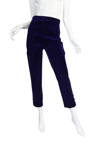Rare 1980s Purple Velvet Chanel Cigarette Pants
