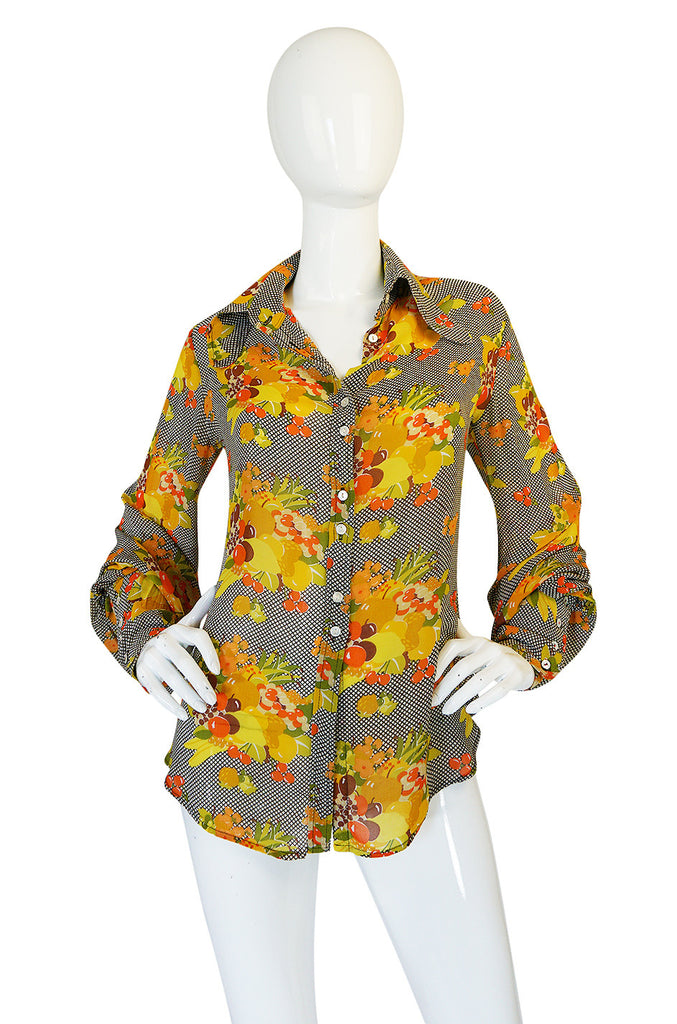 1970s Jeff Banks Lemon and Grape Print Silk Top