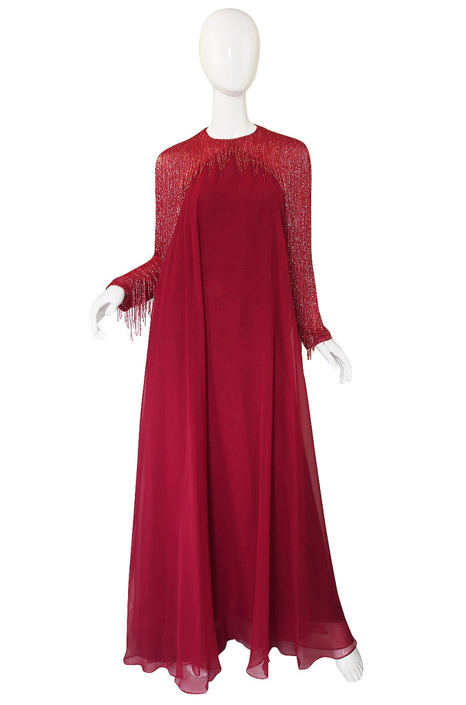 1970s Victoria Royal Larger Chiffon & Bead Gown